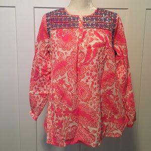 J Crew Pink Floral Embroidered Top Size 12